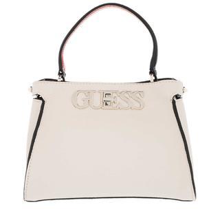 guess - Umhängetasche - Uptown Chic Small Satchel Bag Stone Multicolor - in beige - für Damen