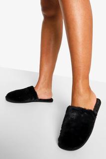 boohoo - Womens Flauschige Slipper - Black - 29, Black