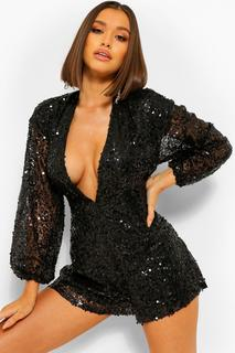 boohoo - Womens Sequin Plunge Front Cowl Back Playsuit - Black - 34, Black