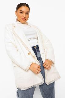 boohoo - Womens Plus Strukturierter Bouclé Blazer Mit Ausgefranstem Saum - Elfenbeinfarben - 48, Elfenbeinfarben