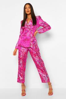 boohoo - Womens Eng Anliegender, Zweireihiger Jacquard-Blazer Mit Asiatischem Muster - Rosa - 34, Rosa