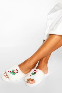 boohoo - Womens Candy Cane Slippers In A Bag - Ivory - L, Ivory