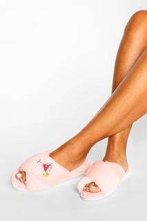 boohoo - Womens Sequin Cocktail Applique Slippers - Baby Pink - L, Baby Pink