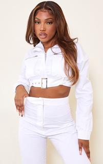 PrettyLittleThing - White Woven Zip Funnel Neck Belted Cropped Jacket, White