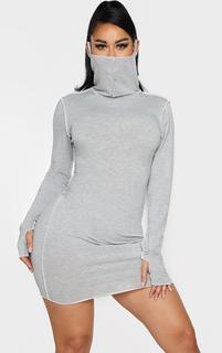 PrettyLittleThing - Shape Grey Jersey Contrast Stitch Thumb Hole Mask Bodycon Dress, Grey