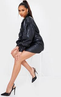PrettyLittleThing - Black Snake PU Sling Back Cut Out High Heel Court Shoes, Black