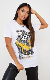 PrettyLittleThing - Petite White Low Rider T Shirt, White