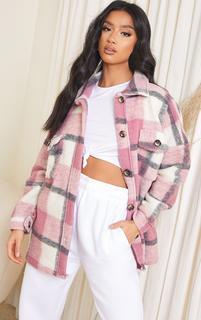 PrettyLittleThing - Petite Pink Brushed Check Oversized Shacket, Pink