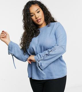 Simply Be - Bluse mit Ärmelschnürung in Blau
