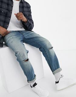 G-Star - G-Bleid – Zerrissene und geflickte Jeans mit schmaler Passform und mittlerer Waschung-Blau