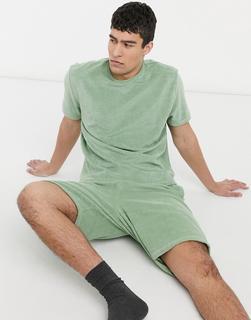 ASOS DESIGN - Lounge-Set mit Oversize-T-Shirt und Shorts aus Frottee-Grün