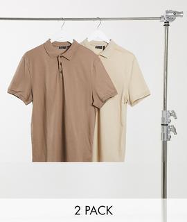 ASOS DESIGN - Poloshirt aus Bio-Gewebe im 2er-Pack-Mehrfarbig