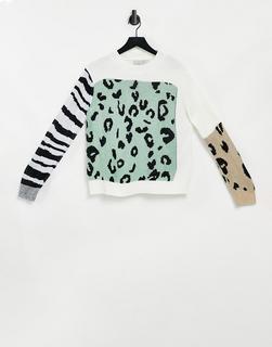 Liquorish - Oversize-Pullover mit Animalprintmix-Mehrfarbig