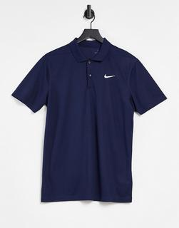 Nike - Solid – Marineblaues Polohemd-Weiß