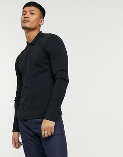 Selected Homme - Langärmliges Polohemd aus Jersey in Schwarz