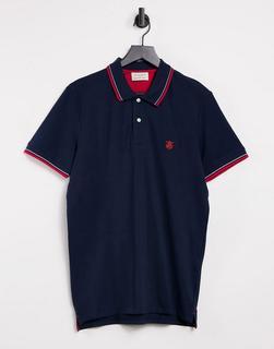 Selected Homme - Polohemd mit Zierstreifen in Marine und Rot-Mehrfarbig