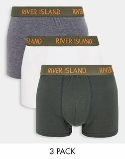 River Island - Hüftslips im 3-er Set in Khaki-Grün