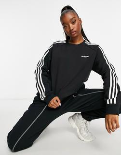 adidas Performance - adidas – Training – Schwarzes Sweatshirt mit den 3 Adidasstreifen