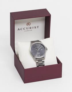 Accurist - Silberfarbene Armbanduhr mit schwarzem Zifferblatt