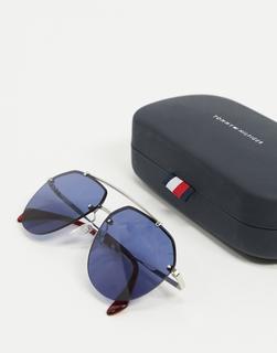 TOMMY HILFIGER - Pilotensonnenbrille in Silber-Metallic mit blauen Gläsern
