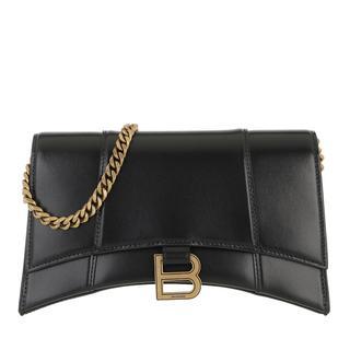 balenciaga - Umhängetasche - Hourglass Chain Bag Shiny Box Calfskin Black - in schwarz - für Damen