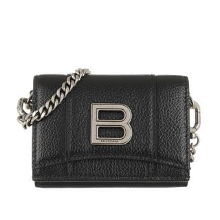 balenciaga - Umhängetasche - Hourglass Mini Wallet On Chain Grained Calfskin Black - in schwarz - für Damen