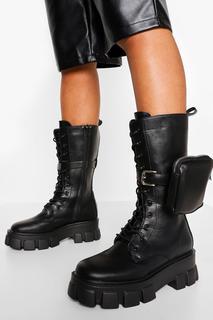 boohoo - Womens Pouch Calf Height Hiker Boot - Black - 39, Black