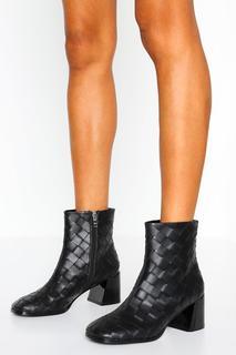 boohoo - Womens Woven Block Heel Shoe Boots - Black - 41, Black
