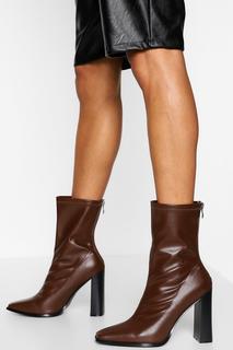 boohoo - Womens Zip Back Block Heel Sock Boots - Chocolate - 38, Chocolate