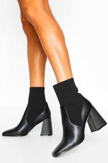 boohoo - Womens Block Heel Knitted Panel Sock Boots - Black - 38, Black