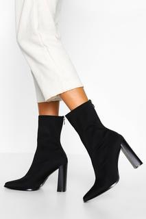 boohoo - Womens Zip Back Block Heel Sock Boots - Black - 40, Black
