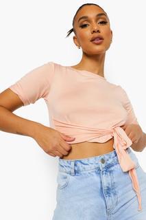 boohoo - Womens Kurzes T-Shirt Vorn Zum Binden - Rosa - 34, Rosa