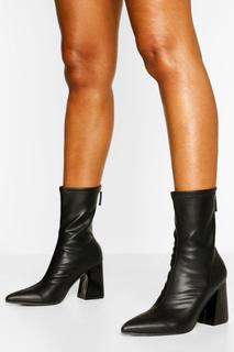 boohoo - Womens Block Heel Pointed Toe Sock Boots - Black - 36, Black