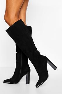 boohoo - Womens Metal Trim Block Heel Knee High Boot - Black - 39, Black