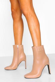 boohoo - Womens Padded Cuff Flat Heel Shoe Boots - Tan - 38, Tan