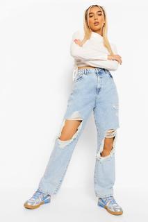 boohoo - Womens Straight Leg Jeans In Extremer Destroyed-Optik Mit Acid-Waschung - Eisblau - 42, Eisblau