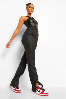 boohoo - Womens Split Hem Pu Coated Denim Skinny Jeans - Black - 38, Black