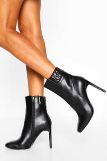 boohoo - Womens Padded Cuff Flat Heel Shoe Boots - Black - 37, Black