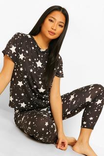boohoo - Womens Petite Start Print T-Shirt & Legging Pj Set - Black - 36, Black