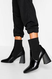 boohoo - Womens Croc Block Heel Knitted Panel Sock Boots - Black - 38, Black
