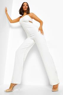 boohoo - Womens Weiter Jumpsuit Mit Cut-Out Und Trägerkette - Weiß - 44, Weiß
