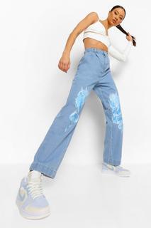 boohoo - Womens Spliced Flame Print Boyfriend Jeans - Mid Blue - 32, Mid Blue