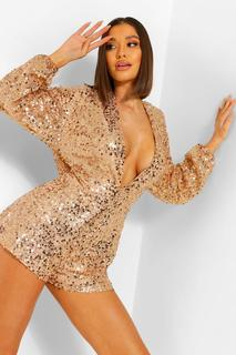 boohoo - Womens Sequin Plunge Front Cowl Back Playsuit - Gold - 34, Gold