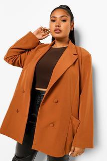boohoo - Womens Plus Blazer In Übergröße Mit Taschendetail - Kamelhaarfarben - 46, Kamelhaarfarben