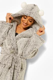 boohoo - Womens Pom Pom Ear Dressing Gown - Grey - 16/18, Grey