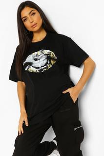 boohoo - Womens Umstandsmode T-Shirt Bedruckt Mit Lippen Und Marmormuster - Schwarz - L, Schwarz