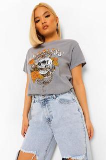 "boohoo - Womens Petite T-Shirt Mit ""Fearless""-Print - Hellgrau - S, Hellgrau"