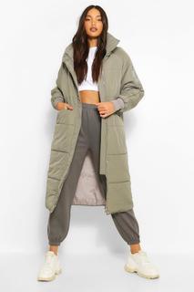 boohoo - Womens Tall Wattierter Longline Mantel - Grau - 40, Grau