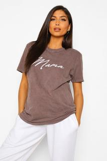 "boohoo - Womens Umstandsmode T-Shirt Mit ""Mama""-Slogan Im Acid-Wash-Look - Chocolate - 34, Chocolate"