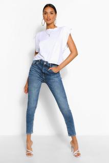 boohoo - Womens Poformende Mid-Rise Skinny Jeans - Dunkelblau - 38, Dunkelblau